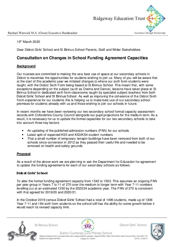 Consultation on change in funding agreement capacities 13th march 2020 p1