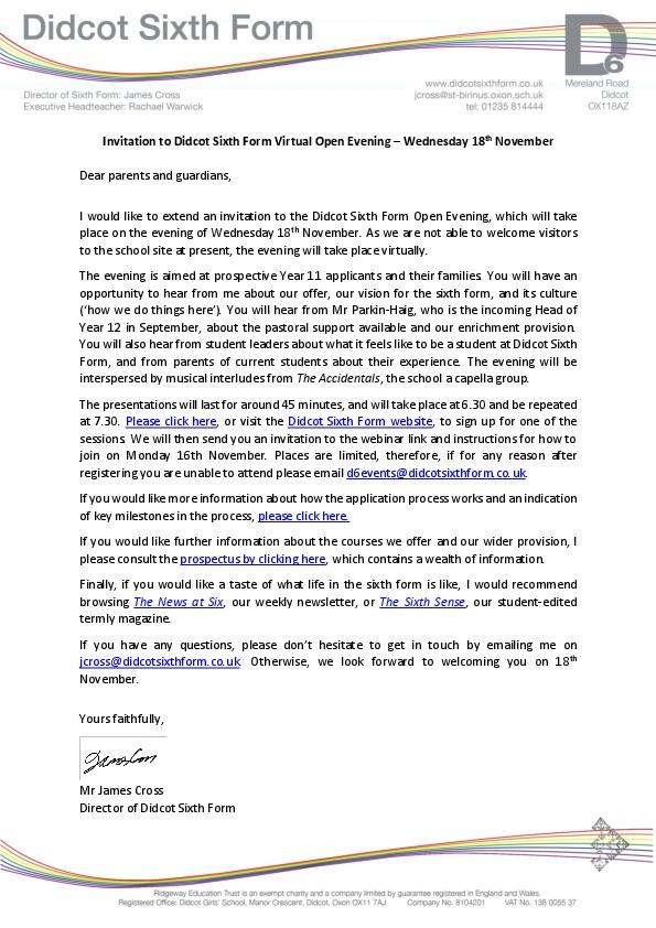 Invitation to open evening november 2020